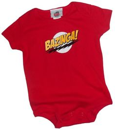 Bazinga! Big Bang TV Show inspired baby One Piece – Red – GeekBabyClothes.com