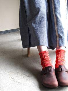 Dark brown and orange socks # birkenstocks #fashion # socks