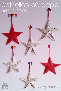 Cómo hacer estrellas de papel cinco puntas | Aprender manualidades es facilisimo.com