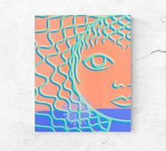 """Illusion"" my #etsy shop: Print on canvas, modern minimal art, abstract feminine portrait, simple face to decorate home, head of women, contemporary canvas wall art http://etsy.me/2CVbaik #art #print #digital #orange #purple #printoncanvas #modernportrait #minimalport"