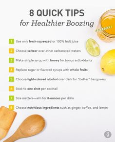 60 Healthier Drinks for Boozing (healthy drinks party) Healthy Alcoholic Drinks, Drinks Alcohol Recipes, Drink Recipes, Cocktail Recipes, Healthy Recipes, Healthy Tips, Healthy Habits, Healthy Choices, Healthy Food