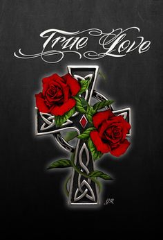 Tattoo Cross with Roses Rose Design, Design Art, Gothic Crosses, Cross Art, Love Yourself Quotes, True Love, Roses, Tattoo, Real Love