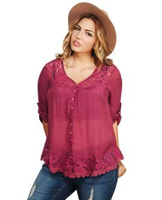 "<p>If we could design a blouse with the perfect mix of girly and boho, this would be it! With a spot on combination of flowy gauze fabric, pretty floral lace, and crochet, this top is a definite must-have! It also has a button-up placket, gathering at the bust, and long sleeves that can be rolled up and secured for a relaxed style. Unlined.</p>  <p>Model is 5'9"" and wears a size 1X.</p>  <ul> 	<li>100% Polyester</li> 	<li>Hand Wash</li> 	<li>Imported</li> </ul>"