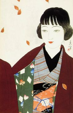 """""""Autumn"""" by Yamakawa Shuho A woodblock print portraying a modern girl, or moga, with a direct expression, chic moga (""""radio roll"""") hairstyle, and fashionable clothing. The Western card design alludes to gambling, popular among young people, but against conservative mores."""