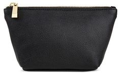 "Merona Women's Faux Leather Small Pouch - The Women's Faux Leather Small Pouch by Merona is the perfect example of ""less is more"". This petite pouch is larger enough to hold cash, credit cards, keys and a lipstick–but won't take up too much space in your bag. Shell Material: Polyurethane Closure Style: Zip Closure Compartment details: No compartments or pockets Handle Type: No handles or straps Dimensions: 4.25 inchesH x 7.875 inchesW x 2 inchesD"