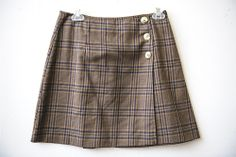 A. Byer- Brown and Navy Blue Plaid mini skirt- Size M