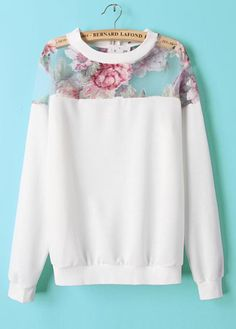 Casual Floral and White Sweatshirt