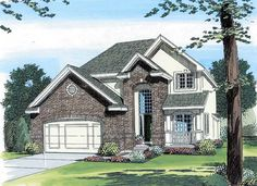 #European #HousePlan 44076 | With this design we wanted a home that was narrow, yet still had curb appeal. Inside the home we emphasize family living. A 2 story entry is what you see when you enter the home, while an open kitchen helps maintain a comfortable feel with views into the family room and breakfast nook. As you continue upstairs, the second level offers 4 bedrooms and a 2nd level laundry. The master suite has a boxed ceiling and a luxury master bath with a large walk in closet.
