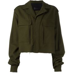 Haider Ackermann 'Proud' cropped jacket (5.360 BRL) ❤ liked on Polyvore featuring outerwear, jackets, green, green jacket, brown jacket, green cropped jacket, haider ackermann and cropped jacket