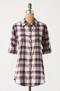I LOVE THIS! Pintucked Plaid Buttondown from Anthropologie