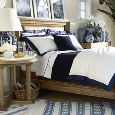 www.HerStoreFront.com  Ralph Lauren Home - blue & white bedroom