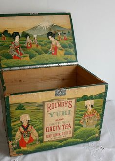 Vintage Japanese Tea Box - Wooden Antique Advertising Green Roundys Tea Storage