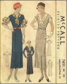 McCall #7451 - 1930s Ladies Dress with Interesting Sleeve Options - Sewing Pattern
