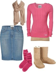 """""""pink winter"""" pretty outfit..must go find something close to it. ,:)"""