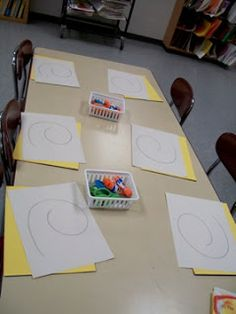 cute morning work idea ~ give them a pre-drawn shape and have them finish it -- fun to see what you get! could also be used during shape unit.