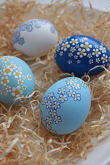 Dekorácie - Veľkonočné kraslice - modrá sada - 6399334_
