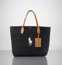 Canvas and Leather City Tote In Black Silver Ralph Lauren Bags 2036d96b5db83