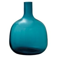 "TEAL VASE for bookcase or entertainment center Target:  Bolo Glass Vase - 10.75"" $40 NOTE:  consider getting vases and other easy to find decorative items at thrift stores for 1/3 of the price."