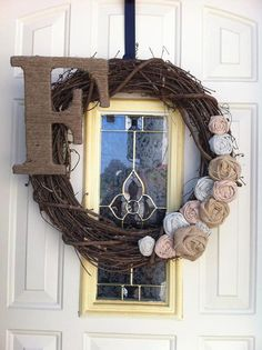 MY ETSY SHOP!! Decorative fabric rosette grapevine wreaths with Twine wrapped letter