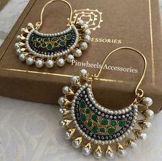 Silver Ring With Stone Indian Jewelry Earrings, Jewelry Design Earrings, Indian Wedding Jewelry, Bridal Jewelry, Jewelery, Silver Jewelry, Silver Ring, Antique Earrings, Designer Earrings