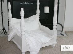 From end table to baby doll bed or pet bed