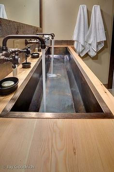 trough sink, for children's bath--like the galvanized sink--like Martis Camp