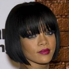 Fashion Straight Black Capless Bob Style Short Full Bang Human Hair Wig For Women (BLACK) in Capless Wigs   DressLily.com