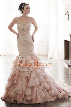 2016 Mermaid Wedding Dresses Sweetheart Beaded Bodice Organza Court Train