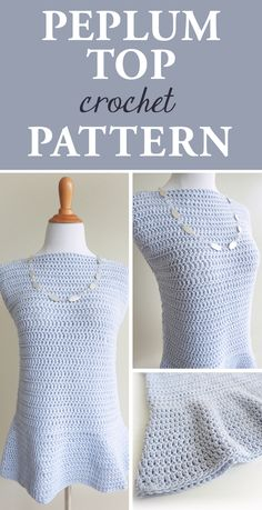 FREE CROCHET PATTERN: Peplum Top; We think you're going to love this. This peplum top crochet pattern gives you a flouncy, light, and free top perfect for summer or for layering into a multidimensional outfit. #blouse #fashion #DIY #crochetdesign #simplycollectible