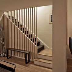 Vertical Wooden Screen Staircase Design Ideas, Pictures, Remodel and Decor