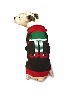 """Ugly Christmas Sweater Elf Dog Sweater, Meduim Ugly Christmas Sweater - """"Elf"""" Dog Sweater - We have been designing and manufacturing sweaters for over thirty years. Under the """"Ugly Read  more http://dogpoundspot.com/ugly-christmas-sweater-elf-dog-sweater-meduim/  Visit http://dogpoundspot.com for more dog review products"""