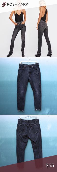 c59895b7 Levi's x FP Altered 501 Distressed Mom Jeans Sz 30 Levi's / Free People  collaboration Altered 501 distressed, high rise, straight leg vintage style  mom ...