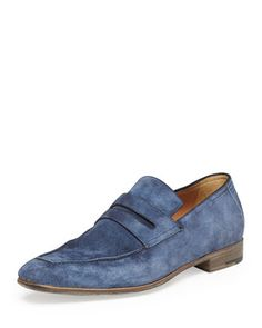 Andy Suede Penny Loafer, Blue  by Berluti at Neiman Marcus.