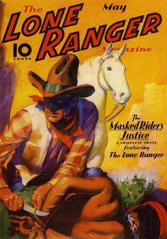 """The Lone Ranger"" Vintage Pulp Men's Adventure Magazine Walt Disney Pictures, Jean Giraud, Comic Book Covers, Comic Books Art, Western Comics, Western Art, Western Theme, Cowboy Western, Comics Vintage"