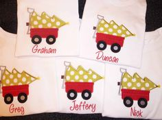 Adorable BOYS Christmas tree and wagon .. by SewPolkaDotsBoutique, $17.00