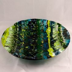 Fused Glass Bowl Boiled Blues and Greens by MargieMcNutt on Etsy, $125.00
