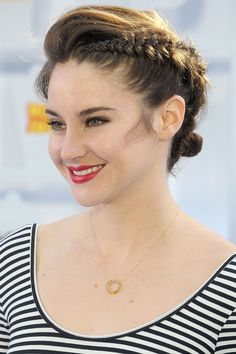 Shailene Woodley rocks a reverse taper braided bun courtesy of Adir Abergel for the 2015 MTV Movie Awards.   - HarpersBAZAAR.com