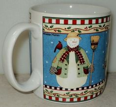 Sakura Debbie Mumm Jolly Snowman 2000 Christmas Holiday Blue Coffee Cup Mug  - This Item is for sale at LB General Store http://stores.ebay.com/LB-General-Store ~Free Domestic Shipping