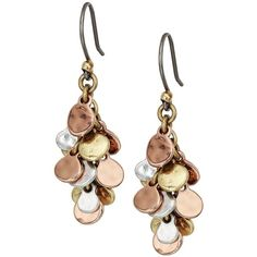 Lucky Brand Cluster Earrings (Two-Tone) Earring ($25) ❤ liked on Polyvore featuring jewelry, earrings, nakit, two tone earrings, charm jewelry, earring charms, two tone charms and rose jewellery