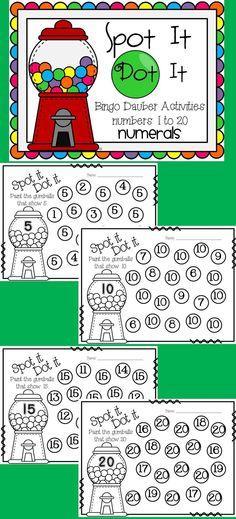 Spot It! Dot It! (Bingo Dauber Printables for Numbers to 20)