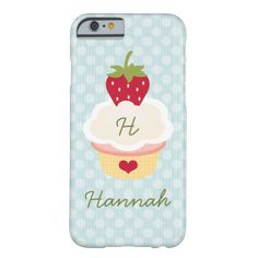 Blue Monogrammed Strawberry Cupcake Case-Mate iPhone Case - Great gift for a sweet tooth! Pictured on iPhone 6 /