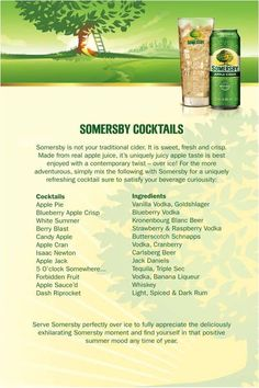 YUM! Try some of these delicious #Somersby Cocktails this long weekend! @Laura Phillips this is what I was talking about!
