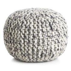 Madame puff strikket i gråmelert ull 50x35 cm