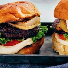 These Vegan Grilled Portobello Mushroom Burgers by look delicious! ——————————————————— ⭐️Tag a friend who would love this… Portobello Mushroom Burger, Grilled Portobello, Vegan Grilling, Burgers, Hamburger, Vegan Recipes, Stuffed Mushrooms, Ethnic Recipes, Instagram