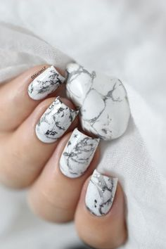 White stone marble nails art 2016