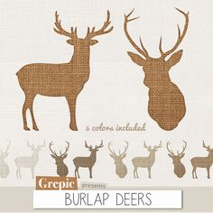 "Deer clip art: ""BURLAP DEERS"" high resolution deers in burlap / linen / canvas style, 2 deers in 5 burlap textures #digitalpaper #grepic"