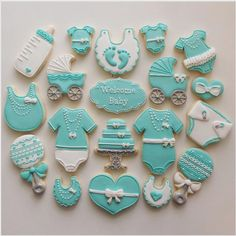 Tiffany blue baby shower cookies