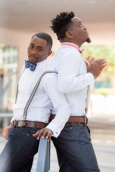 Fort Lauderdale stylish engagement session |  Innovative Arts Photography | filed under: gay, black, Florida, LGBTQ, same-sex weddings, style, grooms, pets, love, equality, Equally Wed, bow ties, dogs