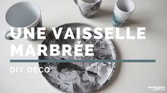 DIY Déco : faire de la vaisselle marbrée avec du vernis  DIY Deco: making marbled tableware with varnish