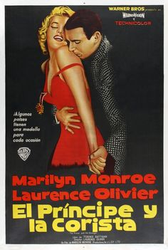 """""""The Prince and The Showgirl"""" - Marilyn Monroe and Laurence Olivier. Spanish movie poster, 1957."""